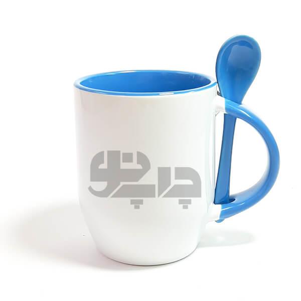 لیوان سرامیکی قاشق دار آبی