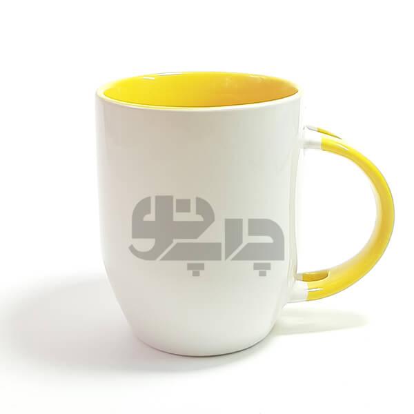 لیوان سرامیکی قاشق دار زرد