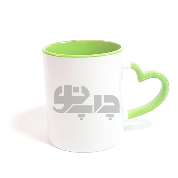 لیوان حرارتی دسته قلبی سبز