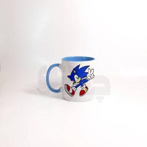 لیوان دسته و داخل رنگی آبی