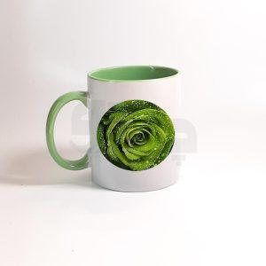 لیوان دسته و داخل رنگی سبز