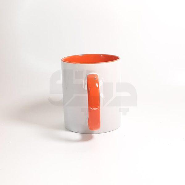 لیوان دسته و داخل رنگی نارنجی