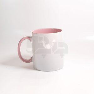 لیوان دسته و داخل رنگی صورتی