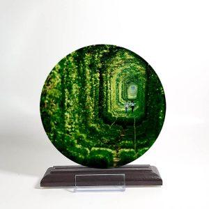 کریستال دایره ای پایه چوبی
